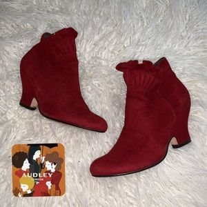Audrey London Red Suede Ruffle Booties. Size 38.5